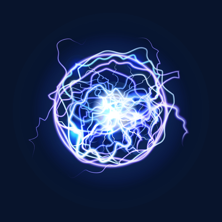 Lightning Sphere Powerful Electrical Energy Discharge on a Dark. Vector illustration of Nerve Impulse or Magical Effect for Design 向量圖像