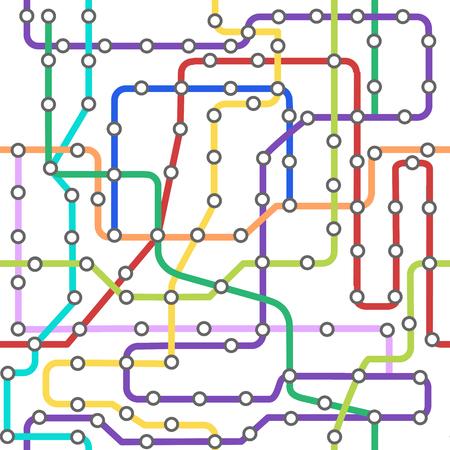 Tarjeta de fondo de línea de color de metro de esquema. Vector
