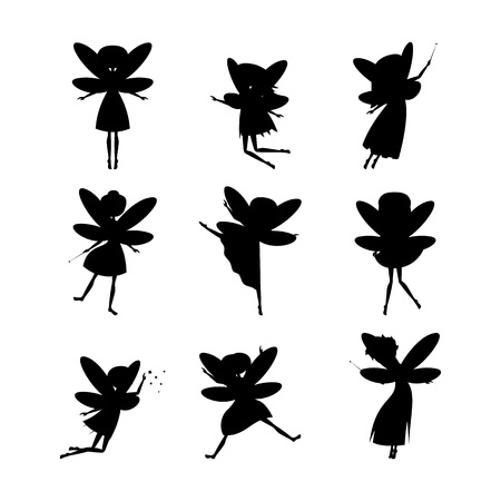 Cartoon Characters Fairies Silhouette Black Cute Fantasy Magic Girls with Wings Concept Element Flat Design Style. Vector illustration of Fairy Ilustración de vector