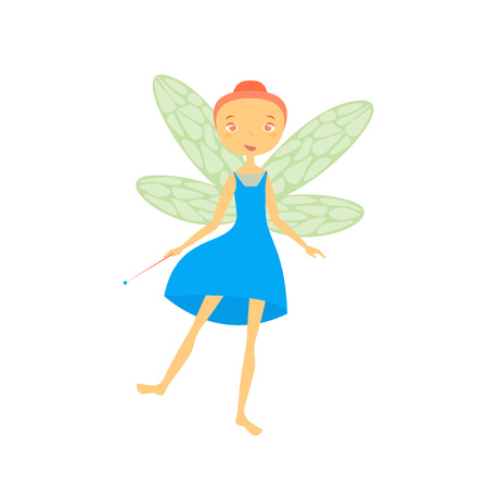 Cartoon Character Fairiy Girl Cute Fantasy Magic Lady with Wings Concept Element Flat Design Style. Vector illustration