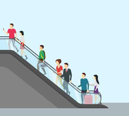 Cartoon People Moving Up Card Poster with Empty Place for Your Text Escalator Concept Element Flat Design Style. Vector illustration Ilustração