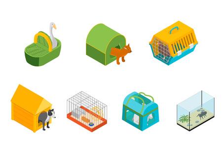 Signes de transporteurs d'animaux 3d Icons Set Vue isométrique Sac portable pour animaux domestiques sur un fond blanc. Illustration vectorielle de transporteur Vecteurs