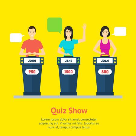 Cartoon People Quiz Game Show Concept. Vector