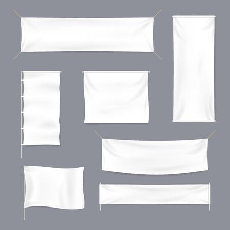 Ensemble de maquette de modèle de bannière publicitaire textile blanc blanc détaillé 3d réaliste. Illustration vectorielle Vecteurs