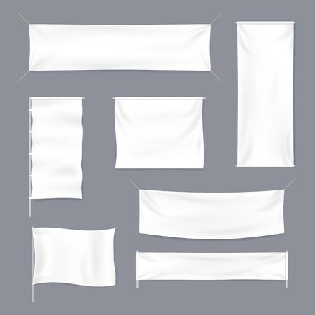 Realistic 3d Detailed White Blank Textile Advertising Banner Template Mockup Set. Vector illustration Ilustração Vetorial