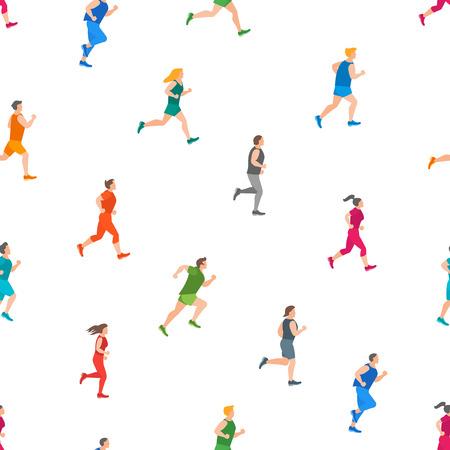 Dessin animé Jogging personnages personnes sans soudure de fond sur un élément de sport Concept blanc Style Design plat. Illustration vectorielle de marathon coureur homme et femme Vecteurs
