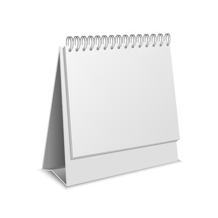 Calendrier de papier de modèle de maquette vide 3d détaillé réaliste vierge. Illustration vectorielle de maquette pour rendez-vous d'affaires
