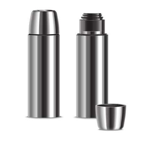 Realistic 3d Detailed Shiny Metal Thermos Set. Vector Standard-Bild - 117254035