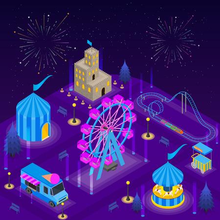 Amusement Park Card Poster Concept 3d Isometric View. Vector
