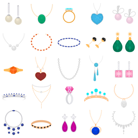 Cartoon Color Different Type Jewelry Set with Precious Gem Include of Armlet, Earring, Pendant and Chain. Vector illustration