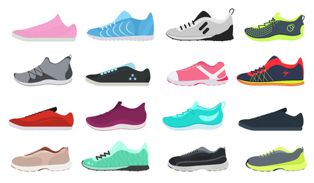 Cartoon Color Different Sneakers Shoes Set Fashion Footwear for Sport Training and Activity Walking Flat Design. Vector illustration