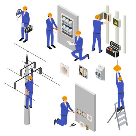 Électricien de caractère en uniforme et équipement professionnel 3d Icon Set Vue isométrique. Illustration vectorielle du service électrique