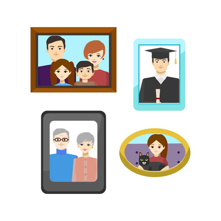 Cartoon Family Photos in Frames Set Include of Parent Together Photography Concept Element Flat Design Style. Vector illustration of Memory Gallery
