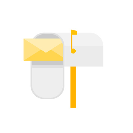 Cartoon Mail Box Post Sign Isolated on a White Background Newsletter Concept Element Flat Design Style. Vector illustration of Envelope Letter Archivio Fotografico - 125161983