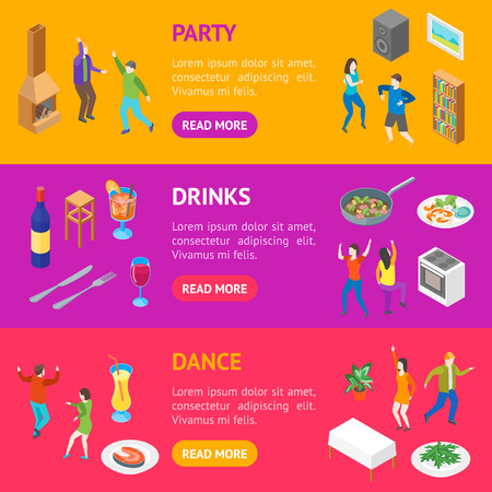 Home Party Concept Banner Horizontal Set Isometric View. Vector Standard-Bild - 117254043