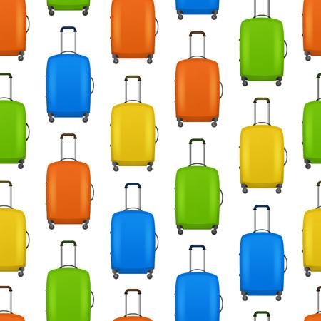 Realistic Detailed 3d Bag for Traveling Seamless Pattern Background. Vector Standard-Bild - 117254042