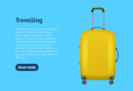 Realistic Detailed 3d Bag for Traveling Card Poster. Vector Standard-Bild - 117254046