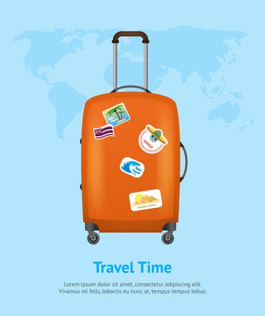 Realistic Detailed 3d Bag for Traveling Card Poster. Vector Standard-Bild - 117254044