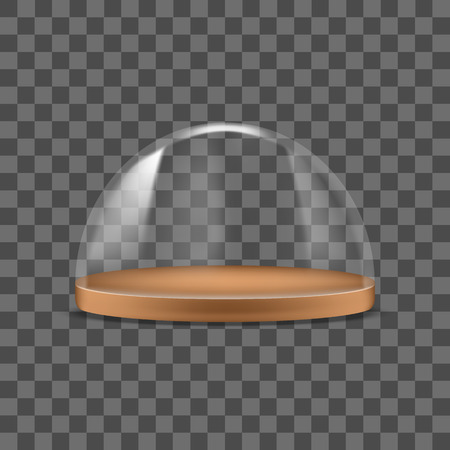Realistic Detailed 3d Glass Dome Container Protection for Food. Vector