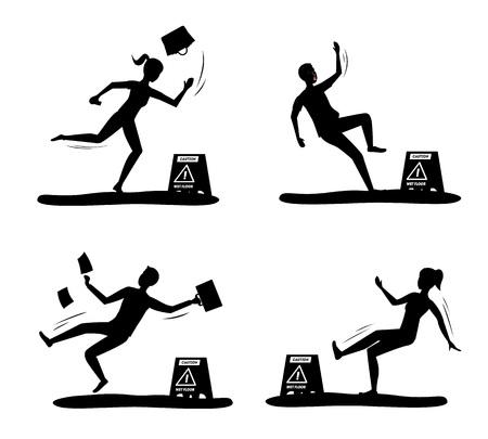 Dessin animé Silhouette Black Attention sol mouillé avec jeu de caractères de personnes. Vecteur Vecteurs