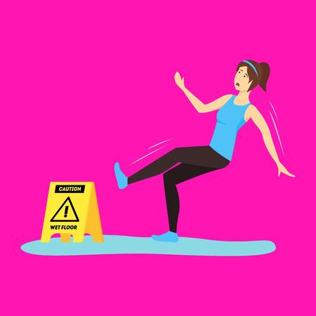 Cartoon Caution Wet Floor with Character Girl. Vector Standard-Bild - 117254050