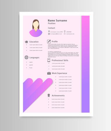 Cartoon Feminine Resume Business Work Elements Concept. Vector