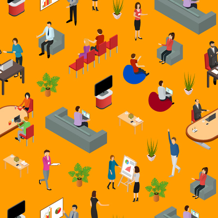 Coworking People and Equipment 3d Seamless Pattern Background Isometric View. Vector Standard-Bild - 117254052