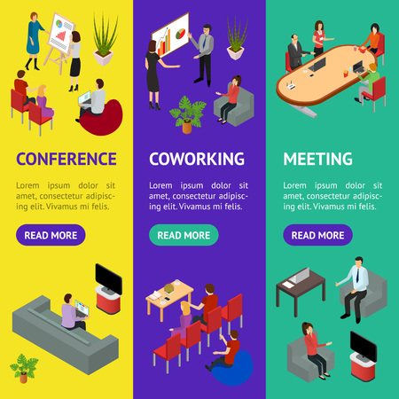 Coworking People and Equipment 3d Banner Vecrtical Set Isometric View. Vector Standard-Bild - 117254054