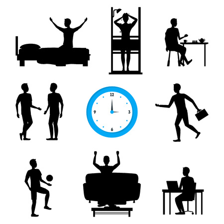 Cartoon Silhouette Black Daily Routine Character Man Set Lifestyle Concept Element Flat Design Style. Vector illustration of Male Schedule Illustration