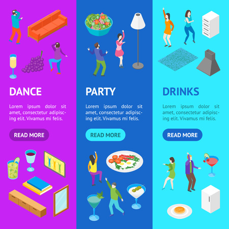 Home Party Concept with Furniture and People Banner Vecrtical Set Isometric View. Vector Standard-Bild - 117254056