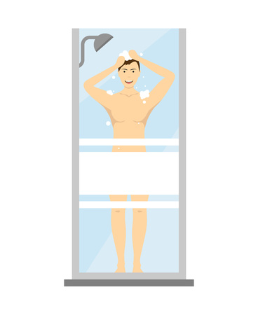 Cartoon Character Man Washes in the Shower. Vector Archivio Fotografico - 117254055