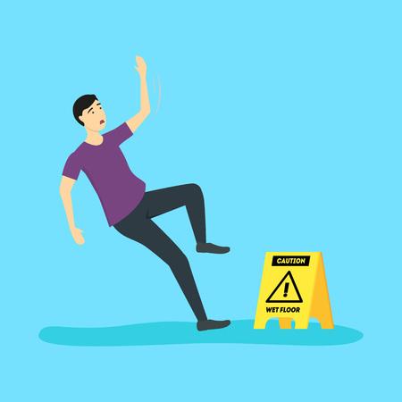 Cartoon Caution Wet Floor with Character Man. Vector Standard-Bild - 117254058