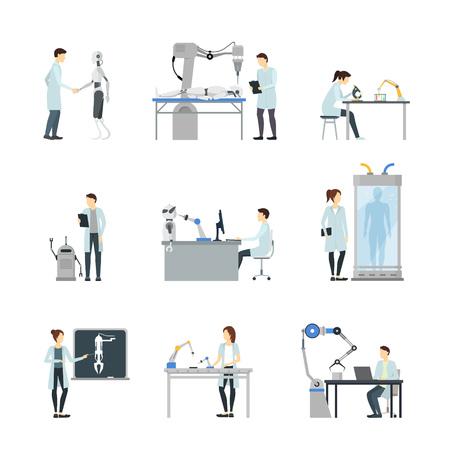 Set di scienziati di intelligenza artificiale di personaggi dei cartoni animati includono Robot, Computer, Element Laboratory, Machine e Cyborg. Illustrazione vettoriale Vettoriali