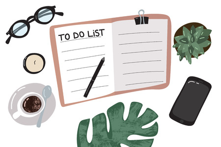 Cartoon To Do List or Planning Concept. Vector Standard-Bild - 117841871