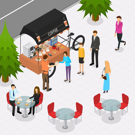 Fast Food Cart on The Street with People Isometric View Coffee Shop Mobile Service . Vector illustration of Cafe Business Concept Illustration
