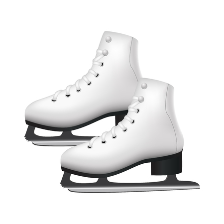 Realistic 3d Detailed White Figure Skates Winter Activity Leisure Concept. Vector illustration of Sport Female Shoes for Skating