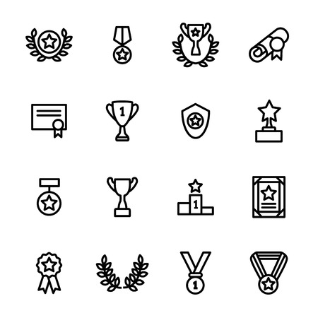 Award Signs Black Thin Line Icon Set Include of Trophy, Medal, Cup, Star, Badge and Ribbon. Vector illustration of Icons