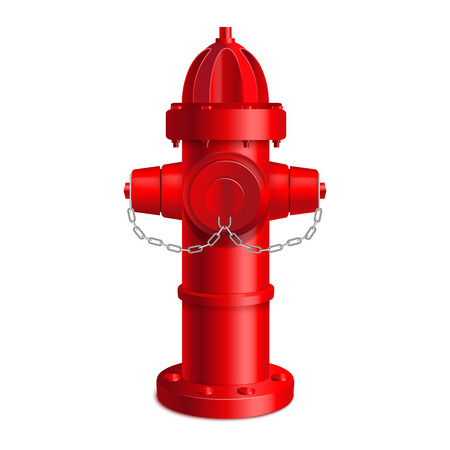 Realistic 3d Detailed Red Fire Hydrant Outdoor Equipment Firefighter Department Service . Vector illustration of Prevention Emergency Concept