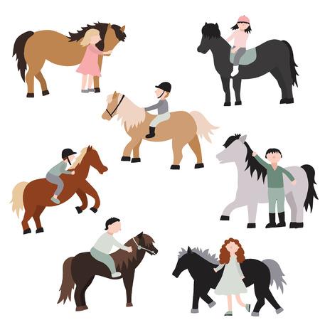Personajes de dibujos animados Niños montando ponis Set Actividad recreativa o concepto de entrenamiento Elemento de estilo de diseño plano. Ilustración vectorial