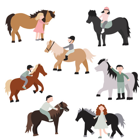 Cartoon Characters Kids Riding Ponies Set Recreation Activity or Training Concept Element Flat Design Style. Vector illustration