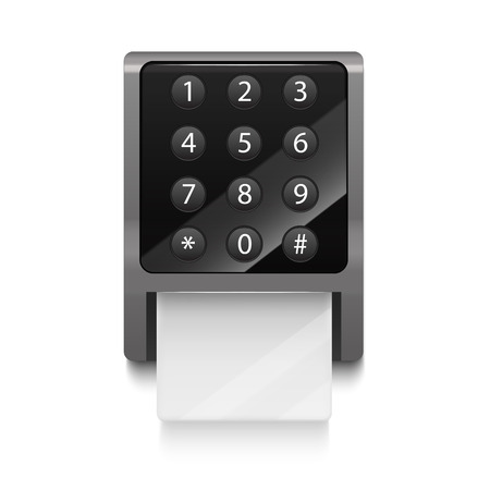 Realistic 3d Detailed Electronic Lock with Numbers Button Black Display and White Empty Card. Vector illustration Ilustrace