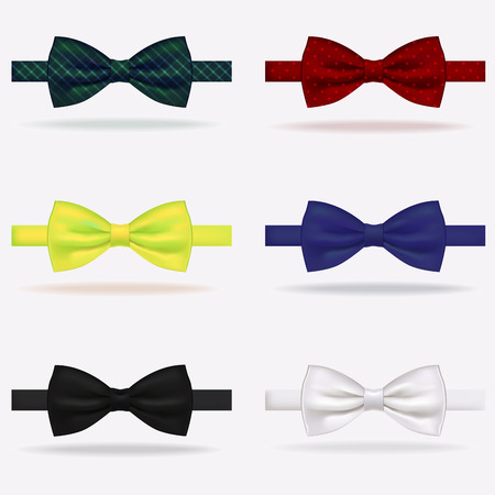 Realistic 3d Detailed Color Bow Tie Set Different Types Fashion Elegant Accessory, Party Element. Vector illustration of Bowtie