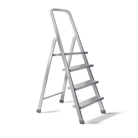 Realistic 3d Detailed Metallic Step Ladder Equipment for Work Repair Symbol of Success. Vector illustration of Stepladder or Staircase Standard-Bild - 117463622