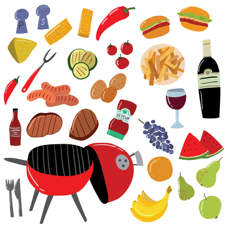 Cartoon Color Barbeque Picnic Elements Set Include of Grill, Sausage, Meat, Vegetable, Fork and Sauce. Vector illustration of Bbq Ilustração