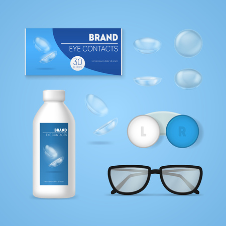 Realistic 3d Detailed Optometry Accessory Set. Vector