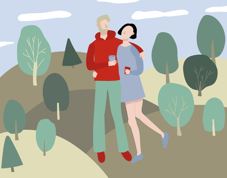 Cartoon Love Couple in Park Background Landscape Elements Romantic Happy Scene Concept Flat Design. Vector illustration of Relationship Ilustrace