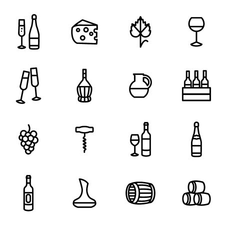 Wine Signs Black Thin Line Icon Set. Vector Standard-Bild - 117841885