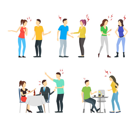 Cartoon Characters People Different Conflict Set Anger, Quarrel, Unhappy, Problem and Stress Concept Element Flat Design Style. Vector illustration Ilustração