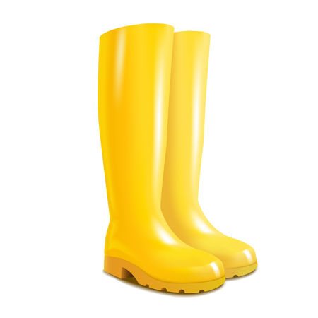 Realistic 3d Detailed Yellow Rubber Boots Fashion Waterproof Footwear for Protection in Rainy Season. Vector illustration of Gumboot Standard-Bild - 124987381