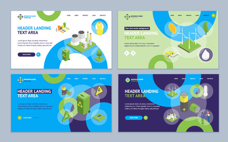 Ecology Concept Landing Web Page Template Set 3d Isometric View Include of Eco Lifestyle, Climate Change, Garbage and Radioactive Waste. Vector illustration